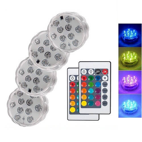 Led Remote Controlled Rgb Submersible Light Battery